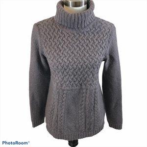 Boden Ladies Purple Grey Knit Turtleneck Sweater 8